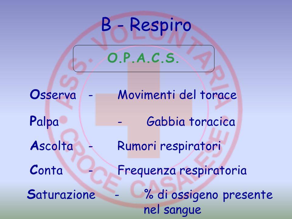 B - Respiro O.P.A.C.S. O sserva-Movimenti del torace P alpa-Gabbia toracica A scolta-Rumori respiratori C onta-Frequenza respiratoria S aturazione-% d
