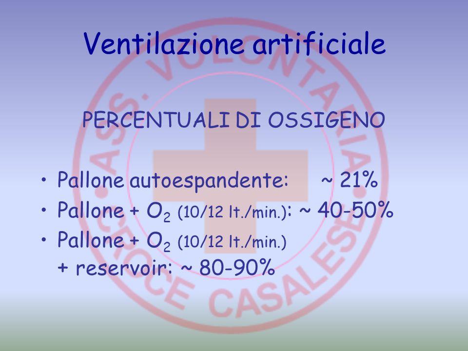 Ventilazione artificiale PERCENTUALI DI OSSIGENO Pallone autoespandente: ~ 21% Pallone + O 2 (10/12 lt./min.) : ~ 40-50% Pallone + O 2 (10/12 lt./min.
