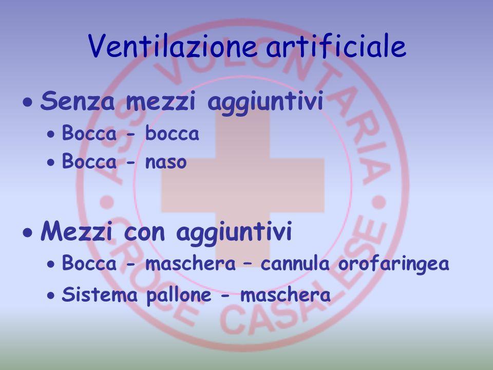 Ventilazione artificiale Senza mezzi aggiuntivi Bocca - bocca Bocca - naso Mezzi con aggiuntivi Bocca - maschera – cannula orofaringea Sistema pallone