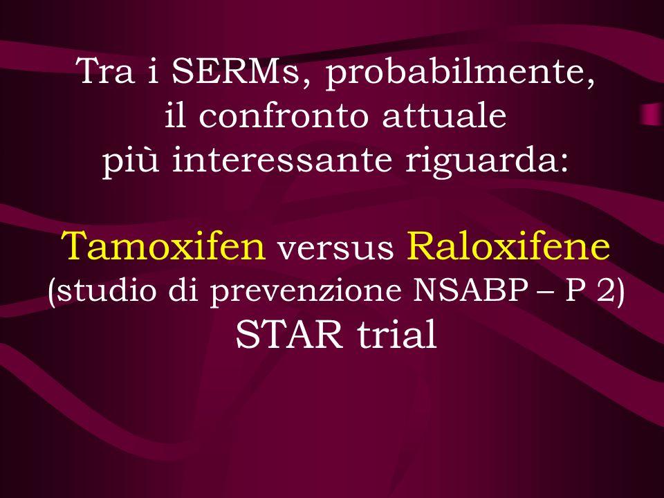 Tra i SERMs, probabilmente, il confronto attuale più interessante riguarda: Tamoxifen versus Raloxifene (studio di prevenzione NSABP – P 2) STAR trial
