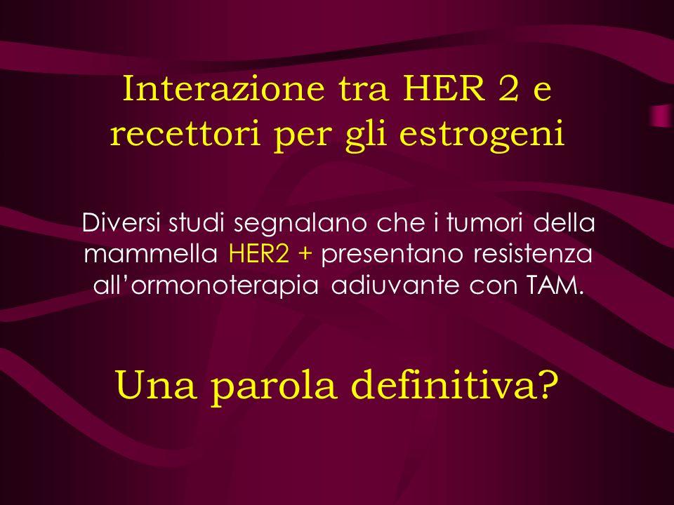 Interazione tra HER 2 e recettori per gli estrogeni Diversi studi segnalano che i tumori della mammella HER2 + presentano resistenza allormonoterapia