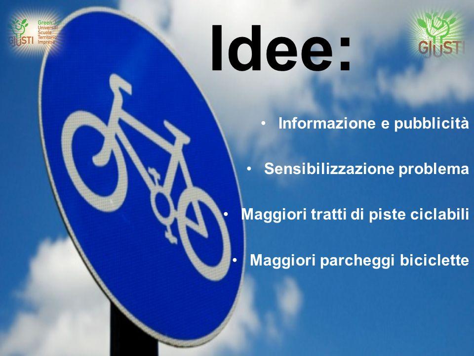 Idee: Informazione e pubblicità Sensibilizzazione problema Maggiori tratti di piste ciclabili Maggiori parcheggi biciclette
