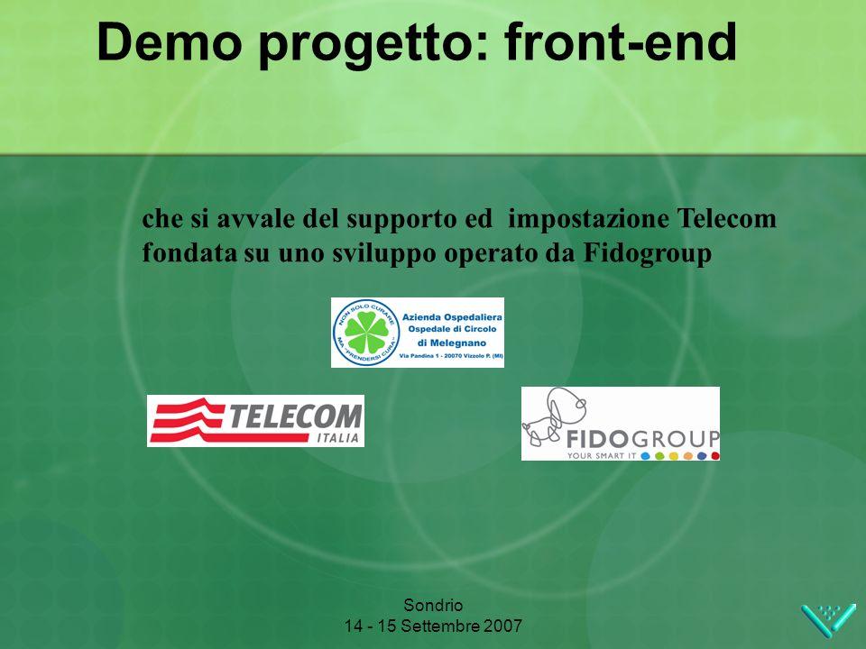 Sondrio 14 - 15 Settembre 2007 Demo progetto: front-end che si avvale del supporto ed impostazione Telecom fondata su uno sviluppo operato da Fidogroup