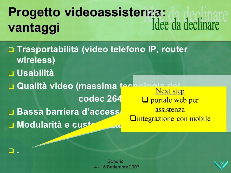 Sondrio 14 - 15 Settembre 2007 Progetto videoassistenza: vantaggi Trasportabilità (video telefono IP, router wireless) Usabilità Qualità video (massima tecnologia del codec 264) Bassa barriera daccesso tecnologico Modularità e customizzazione del sistema.