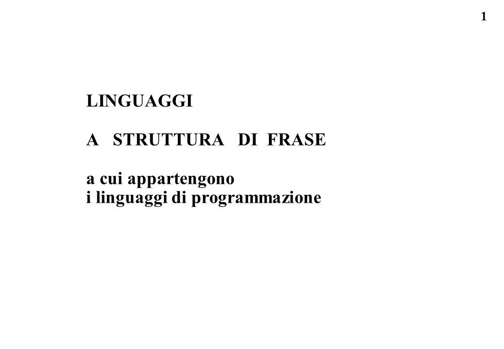1 LINGUAGGI A STRUTTURA DI FRASE a cui appartengono i linguaggi di programmazione