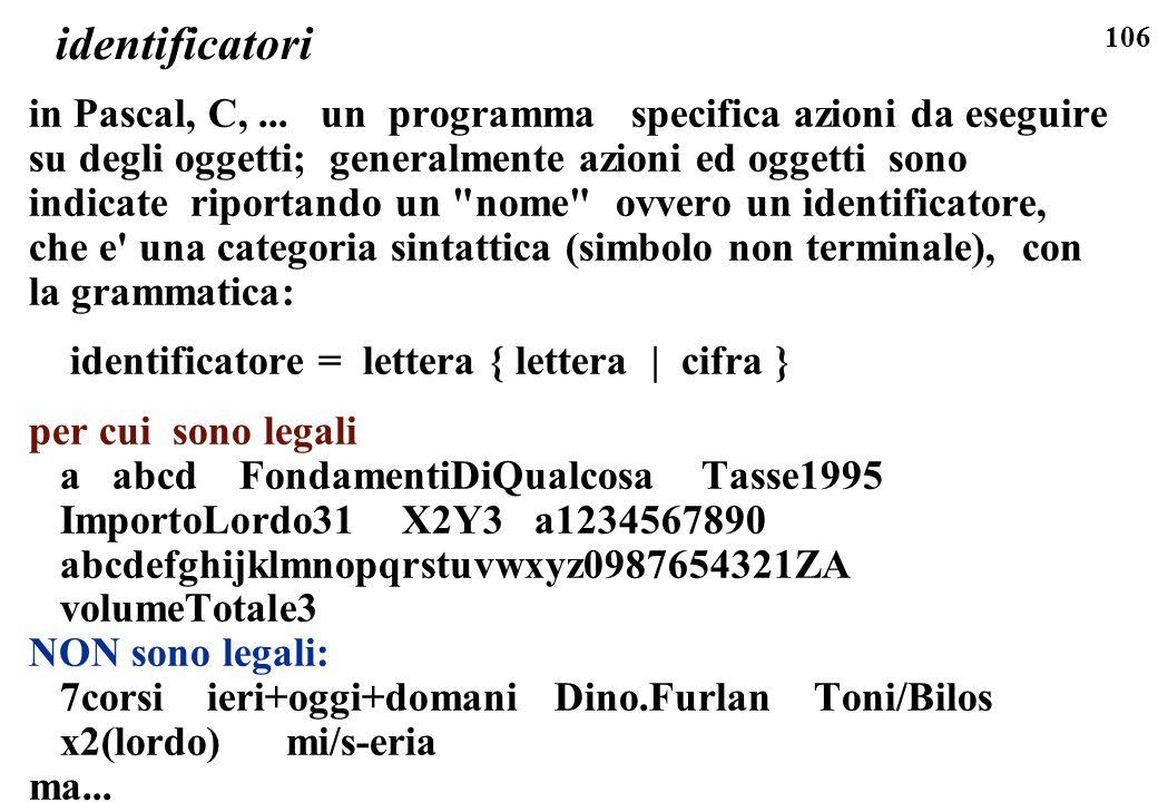 106 identificatori in Pascal, C,... un programma specifica azioni da eseguire su degli oggetti; generalmente azioni ed oggetti sono indicate riportand