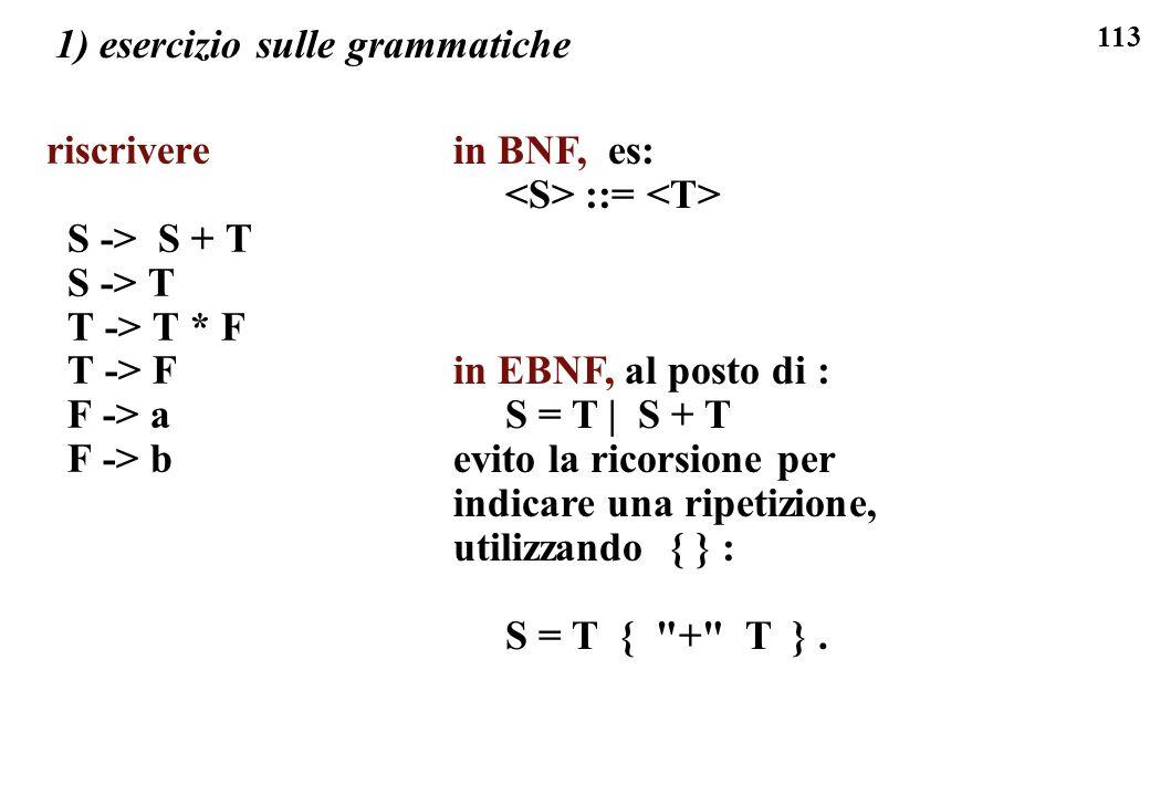 113 1) esercizio sulle grammatiche riscrivere S -> S + T S -> T T -> T * F T -> F F -> a F -> b in BNF, es: ::= in EBNF, al posto di : S = T | S + T e