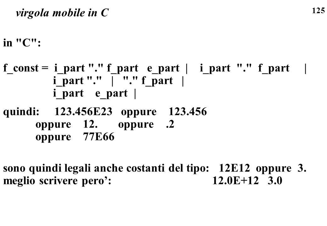 125 virgola mobile in C in