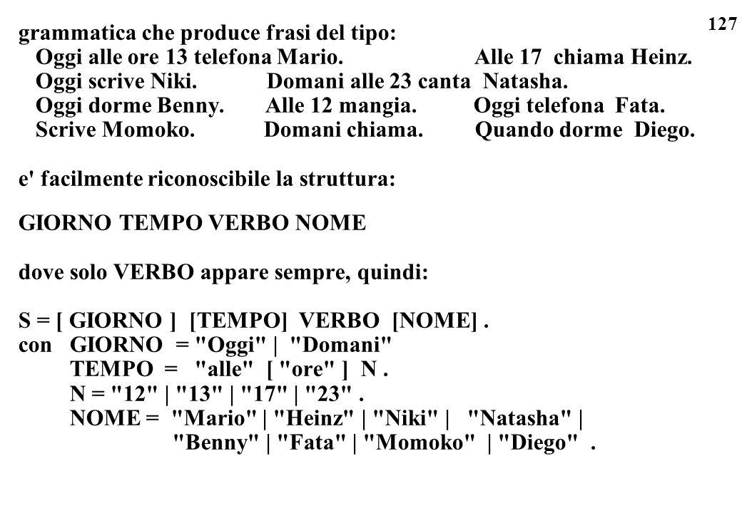 127 grammatica che produce frasi del tipo: Oggi alle ore 13 telefona Mario. Alle 17 chiama Heinz. Oggi scrive Niki. Domani alle 23 canta Natasha. Oggi
