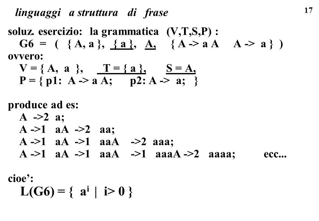 17 linguaggi a struttura di frase soluz. esercizio: la grammatica (V,T,S,P) : G6 = ( { A, a }, { a }, A, { A -> a A A -> a } ) ovvero: V = { A, a }, T