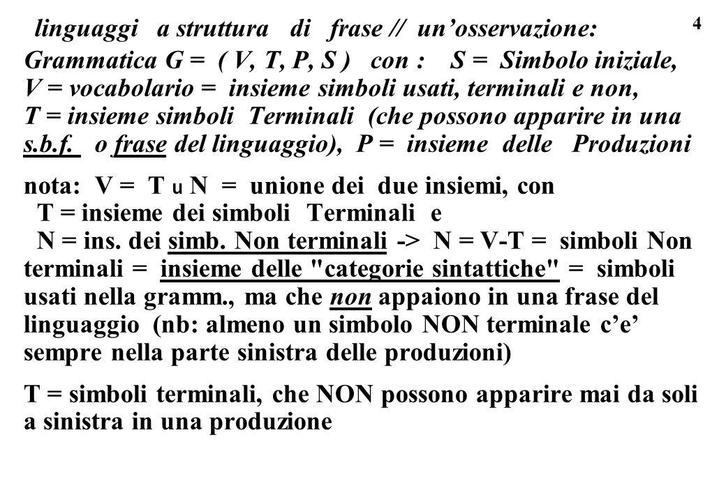 4 linguaggi a struttura di frase // unosservazione: Grammatica G = ( V, T, P, S ) con : S = Simbolo iniziale, V = vocabolario = insieme simboli usati,