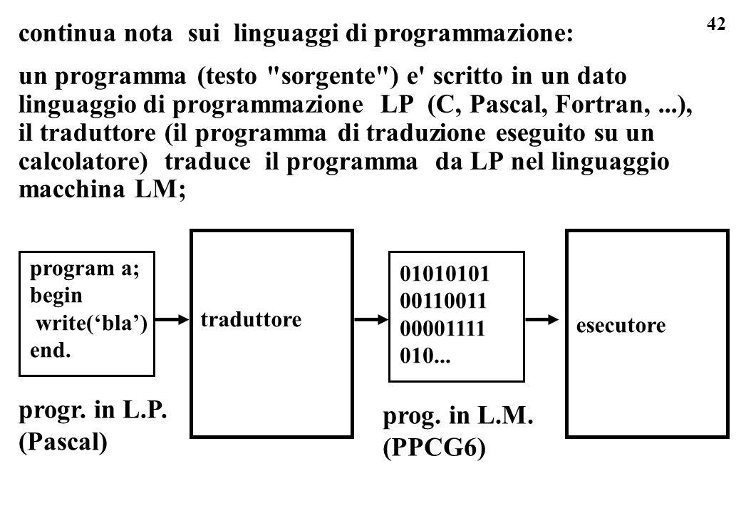 42 continua nota sui linguaggi di programmazione: un programma (testo