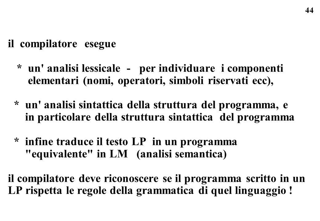 44 il compilatore esegue * un' analisi lessicale - per individuare i componenti elementari (nomi, operatori, simboli riservati ecc), * un' analisi sin