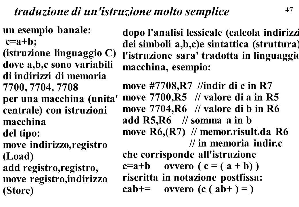 47 traduzione di un'istruzione molto semplice un esempio banale: c=a+b; (istruzione linguaggio C) dove a,b,c sono variabili di indirizzi di memoria 77