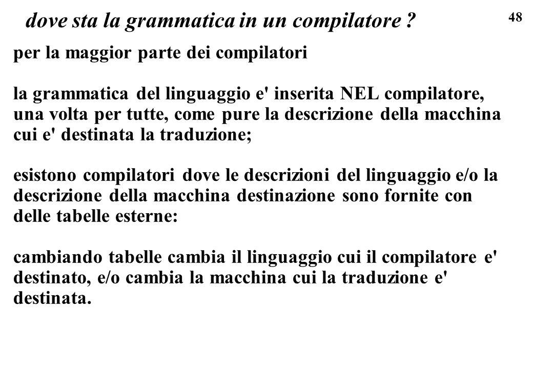 48 dove sta la grammatica in un compilatore ? per la maggior parte dei compilatori la grammatica del linguaggio e' inserita NEL compilatore, una volta