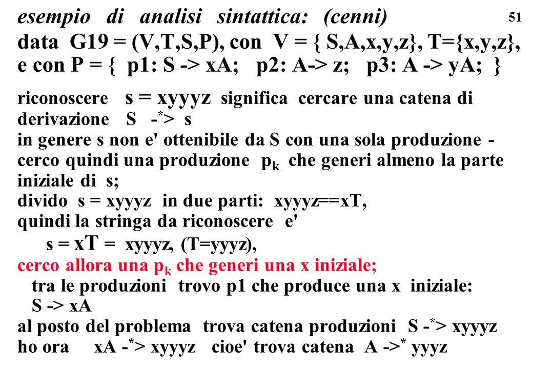 51 esempio di analisi sintattica: (cenni) data G19 = (V,T,S,P), con V = { S,A,x,y,z}, T={x,y,z}, e con P = { p1: S -> xA; p2: A-> z; p3: A -> yA; } ri
