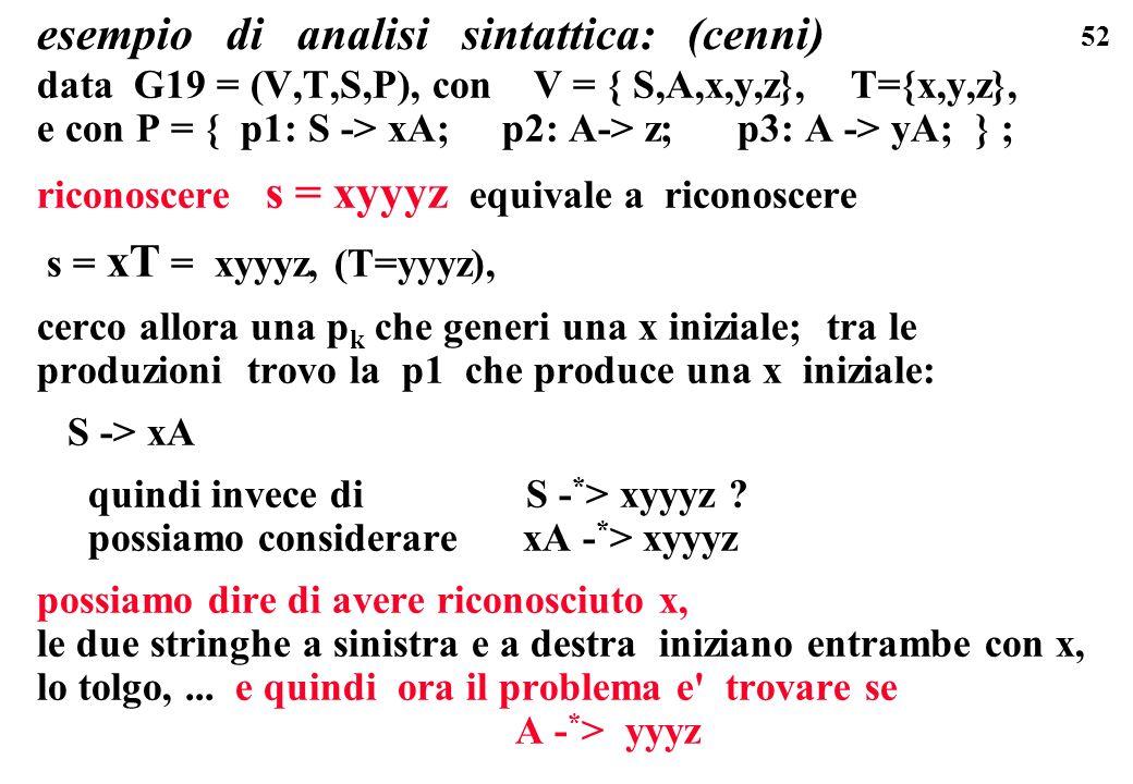 52 esempio di analisi sintattica: (cenni) data G19 = (V,T,S,P), con V = { S,A,x,y,z}, T={x,y,z}, e con P = { p1: S -> xA; p2: A-> z; p3: A -> yA; } ;