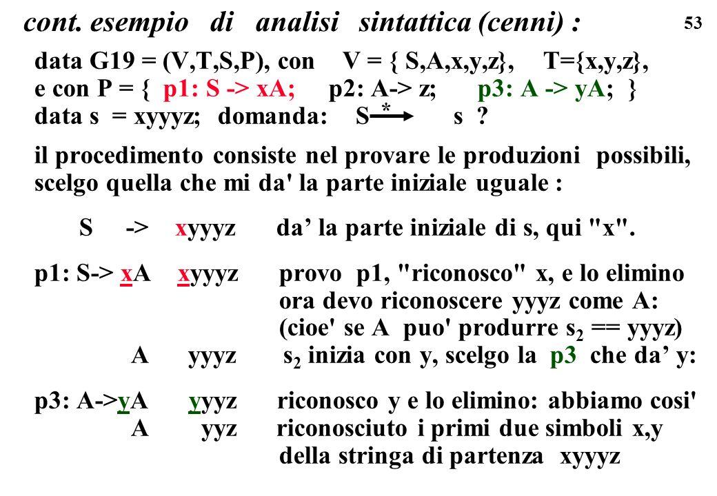 53 cont. esempio di analisi sintattica (cenni) : data G19 = (V,T,S,P), con V = { S,A,x,y,z}, T={x,y,z}, e con P = { p1: S -> xA; p2: A-> z; p3: A -> y