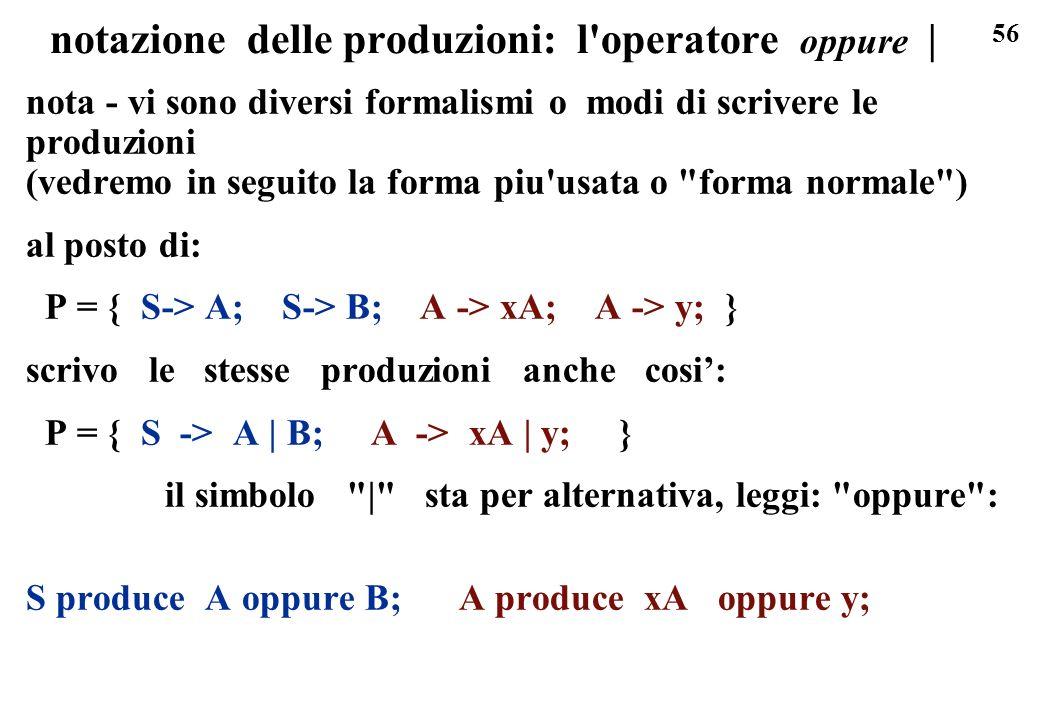 56 notazione delle produzioni: l'operatore oppure | nota - vi sono diversi formalismi o modi di scrivere le produzioni (vedremo in seguito la forma pi