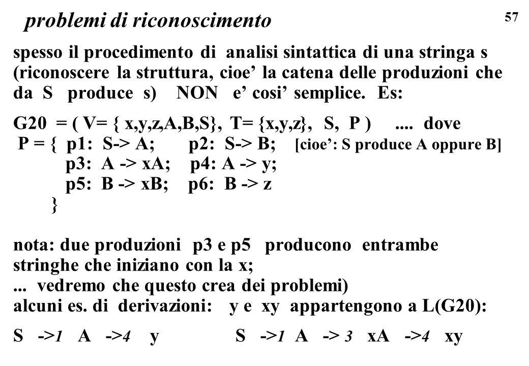 57 problemi di riconoscimento spesso il procedimento di analisi sintattica di una stringa s (riconoscere la struttura, cioe la catena delle produzioni