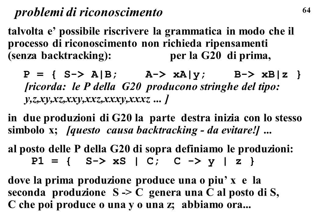 64 problemi di riconoscimento talvolta e possibile riscrivere la grammatica in modo che il processo di riconoscimento non richieda ripensamenti (senza