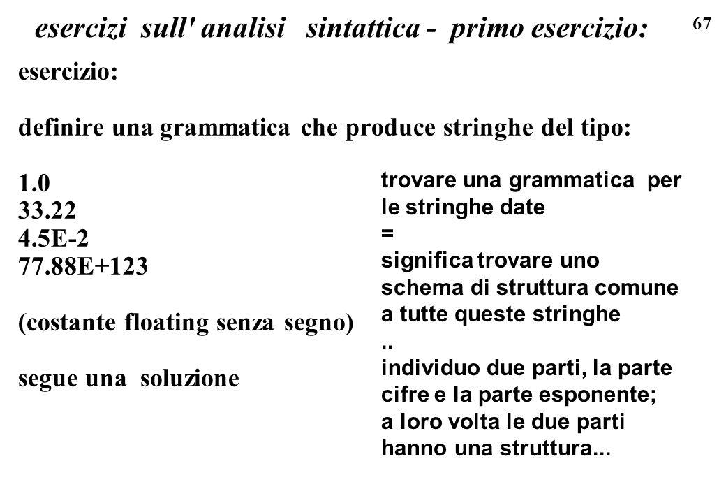 67 esercizi sull' analisi sintattica - primo esercizio: esercizio: definire una grammatica che produce stringhe del tipo: 1.0 33.22 4.5E-2 77.88E+123