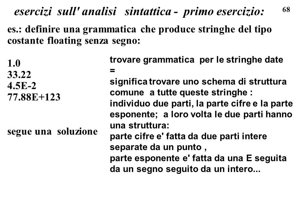 68 esercizi sull' analisi sintattica - primo esercizio: es.: definire una grammatica che produce stringhe del tipo costante floating senza segno: 1.0
