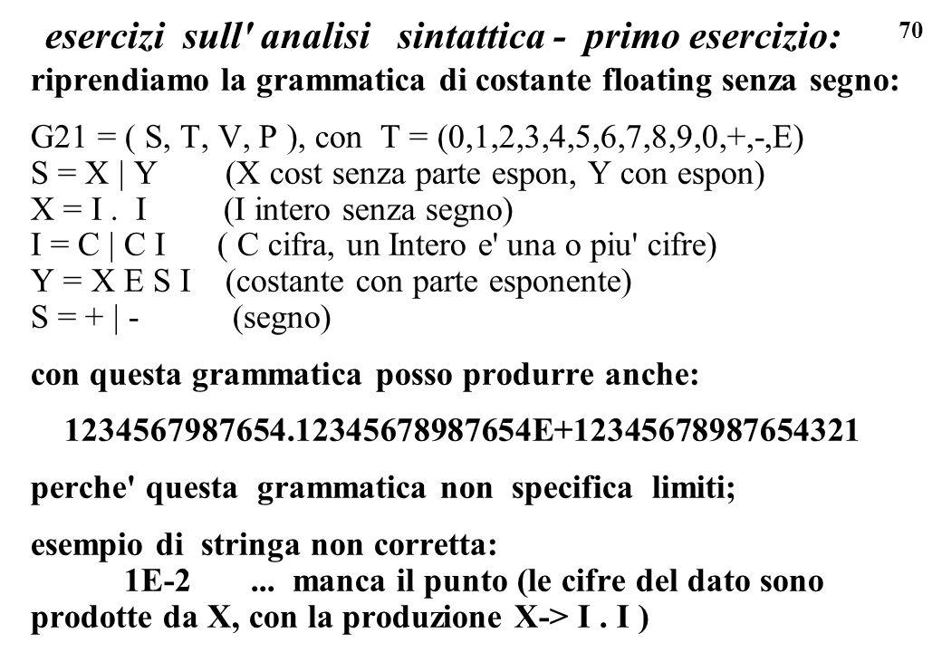 70 esercizi sull' analisi sintattica - primo esercizio: riprendiamo la grammatica di costante floating senza segno: G21 = ( S, T, V, P ), con T = (0,1