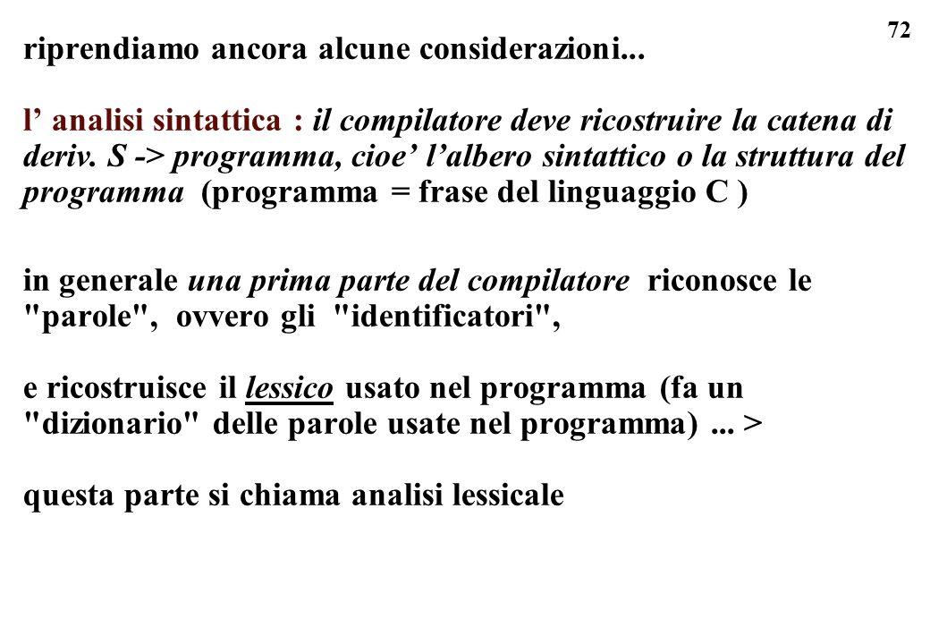 72 riprendiamo ancora alcune considerazioni... l analisi sintattica : il compilatore deve ricostruire la catena di deriv. S -> programma, cioe lalbero