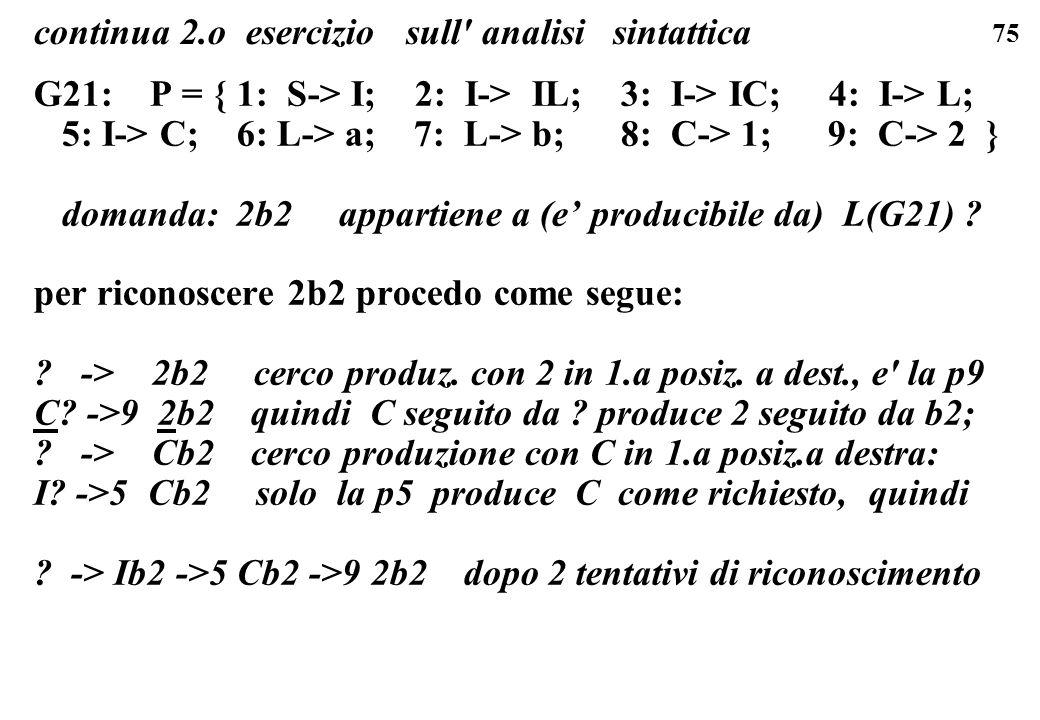 75 G21: P = { 1: S-> I; 2: I-> IL; 3: I-> IC; 4: I-> L; 5: I-> C; 6: L-> a; 7: L-> b; 8: C-> 1; 9: C-> 2 } domanda: 2b2 appartiene a (e producibile da