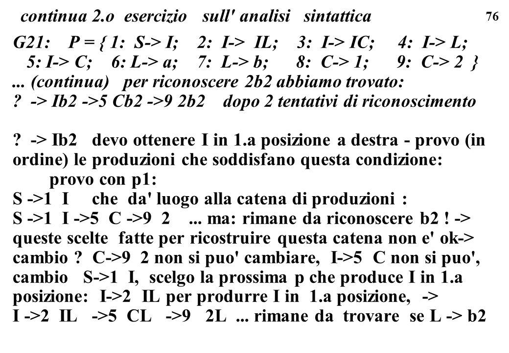 76 continua 2.o esercizio sull' analisi sintattica G21: P = { 1: S-> I; 2: I-> IL; 3: I-> IC; 4: I-> L; 5: I-> C; 6: L-> a; 7: L-> b; 8: C-> 1; 9: C->