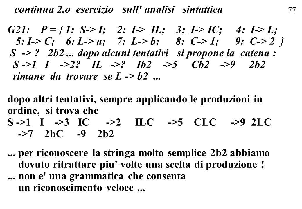77 G21: P = { 1: S-> I; 2: I-> IL; 3: I-> IC; 4: I-> L; 5: I-> C; 6: L-> a; 7: L-> b; 8: C-> 1; 9: C-> 2 } S -> ? 2b2... dopo alcuni tentativi si prop