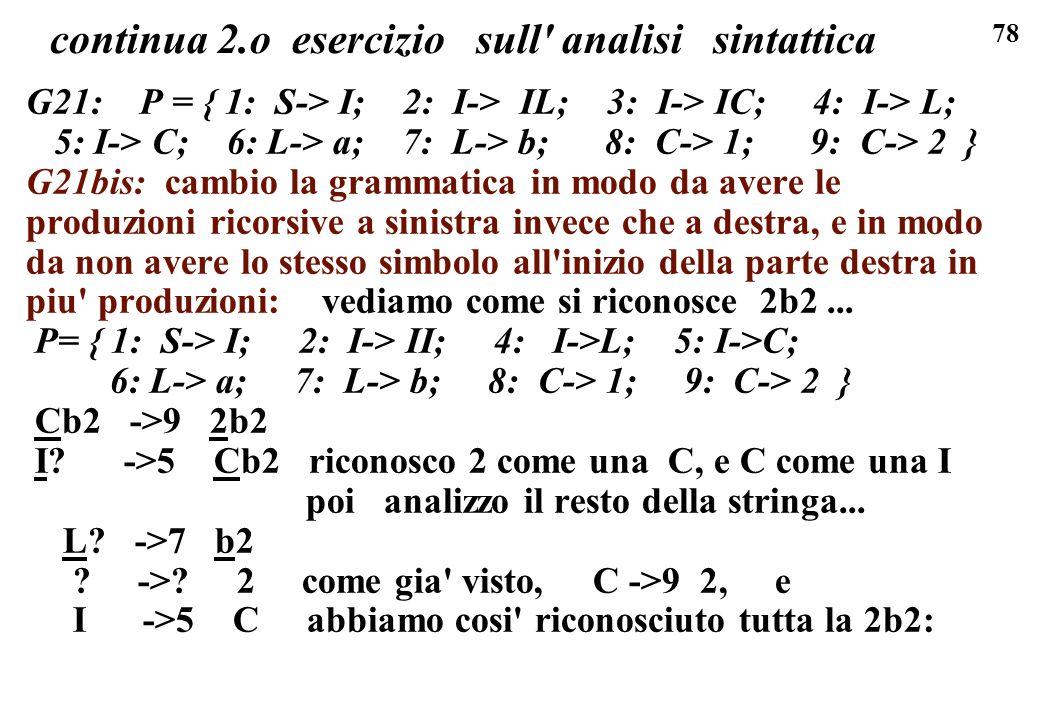 78 continua 2.o esercizio sull' analisi sintattica G21: P = { 1: S-> I; 2: I-> IL; 3: I-> IC; 4: I-> L; 5: I-> C; 6: L-> a; 7: L-> b; 8: C-> 1; 9: C->
