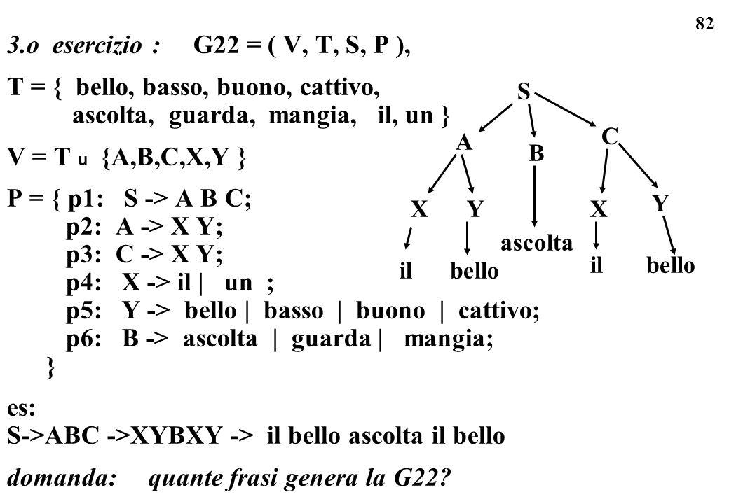 82 3.o esercizio : G22 = ( V, T, S, P ), T = { bello, basso, buono, cattivo, ascolta, guarda, mangia, il, un } V = T u {A,B,C,X,Y } P = { p1: S -> A B
