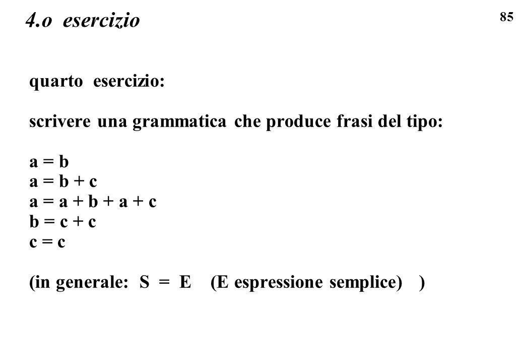 85 4.o esercizio quarto esercizio: scrivere una grammatica che produce frasi del tipo: a = b a = b + c a = a + b + a + c b = c + c c = c (in generale: