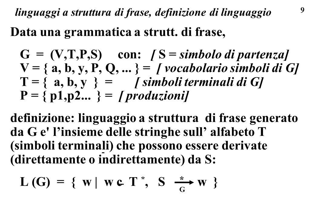 9 linguaggi a struttura di frase, definizione di linguaggio Data una grammatica a strutt. di frase, G = (V,T,P,S) con: [ S = simbolo di partenza] V =