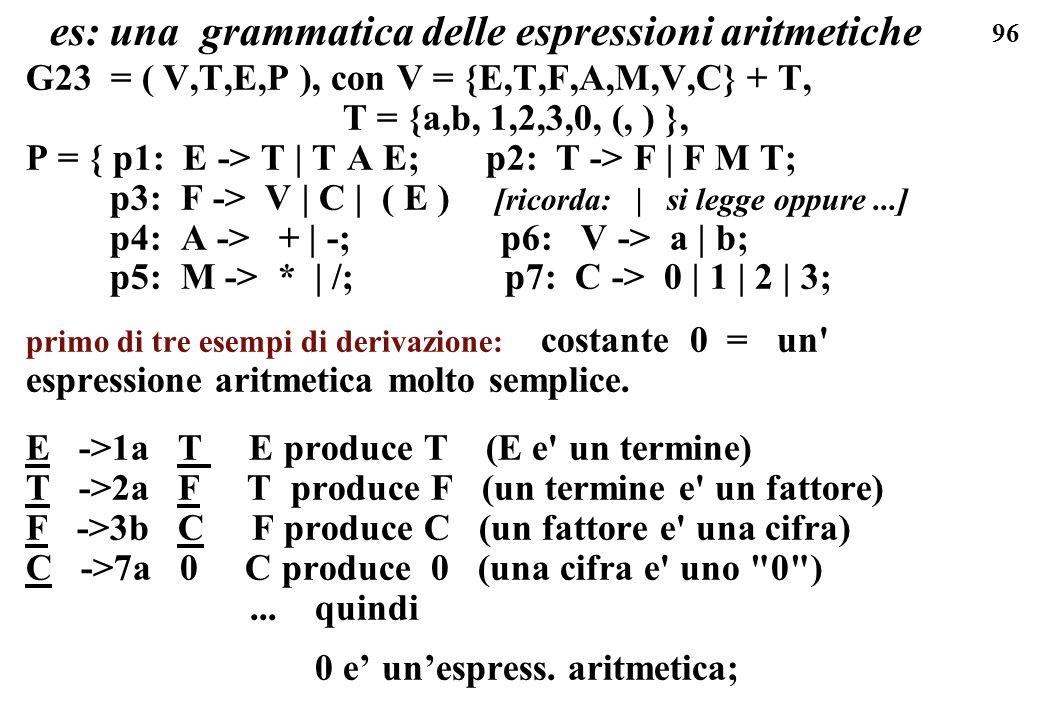 96 es: una grammatica delle espressioni aritmetiche G23 = ( V,T,E,P ), con V = {E,T,F,A,M,V,C} + T, T = {a,b, 1,2,3,0, (, ) }, P = { p1: E -> T | T A