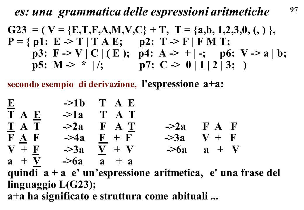 97 es: una grammatica delle espressioni aritmetiche G23 = ( V = {E,T,F,A,M,V,C} + T, T = {a,b, 1,2,3,0, (, ) }, P = { p1: E -> T | T A E; p2: T -> F |