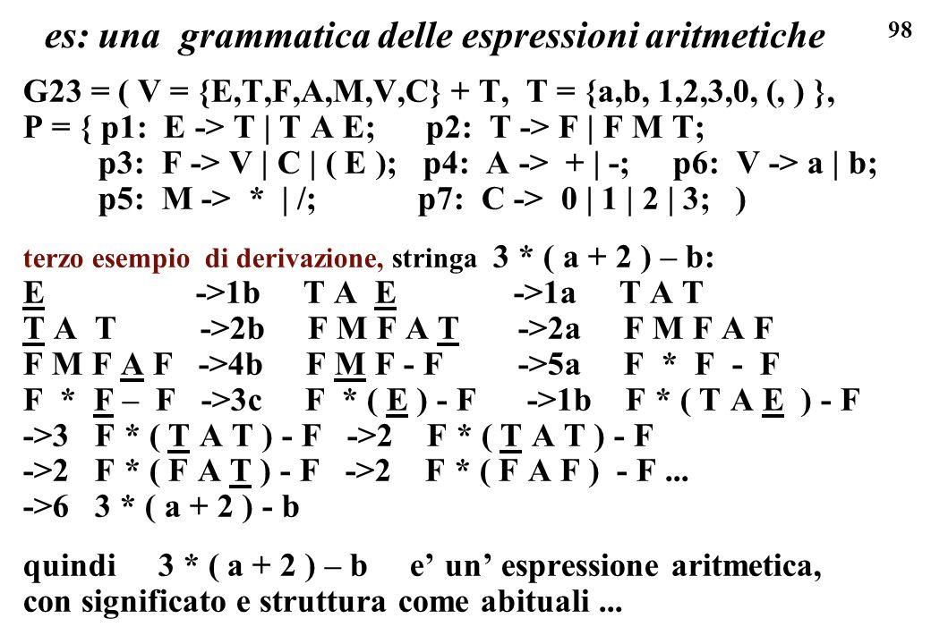 98 es: una grammatica delle espressioni aritmetiche G23 = ( V = {E,T,F,A,M,V,C} + T, T = {a,b, 1,2,3,0, (, ) }, P = { p1: E -> T | T A E; p2: T -> F |