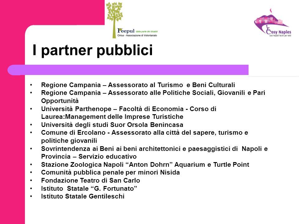 I partner pubblici Regione Campania – Assessorato al Turismo e Beni Culturali Regione Campania – Assessorato alle Politiche Sociali, Giovanili e Pari