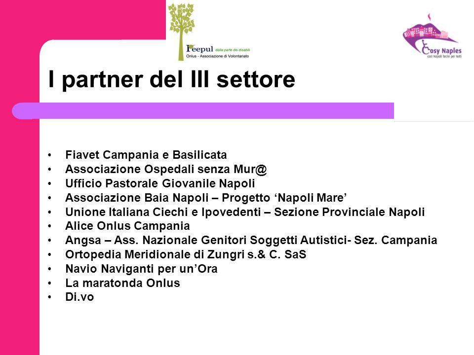 I partner del III settore Fiavet Campania e Basilicata Associazione Ospedali senza Mur@ Ufficio Pastorale Giovanile Napoli Associazione Baia Napoli –