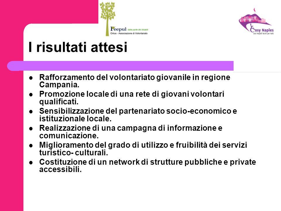 I risultati attesi Rafforzamento del volontariato giovanile in regione Campania. Promozione locale di una rete di giovani volontari qualificati. Sensi