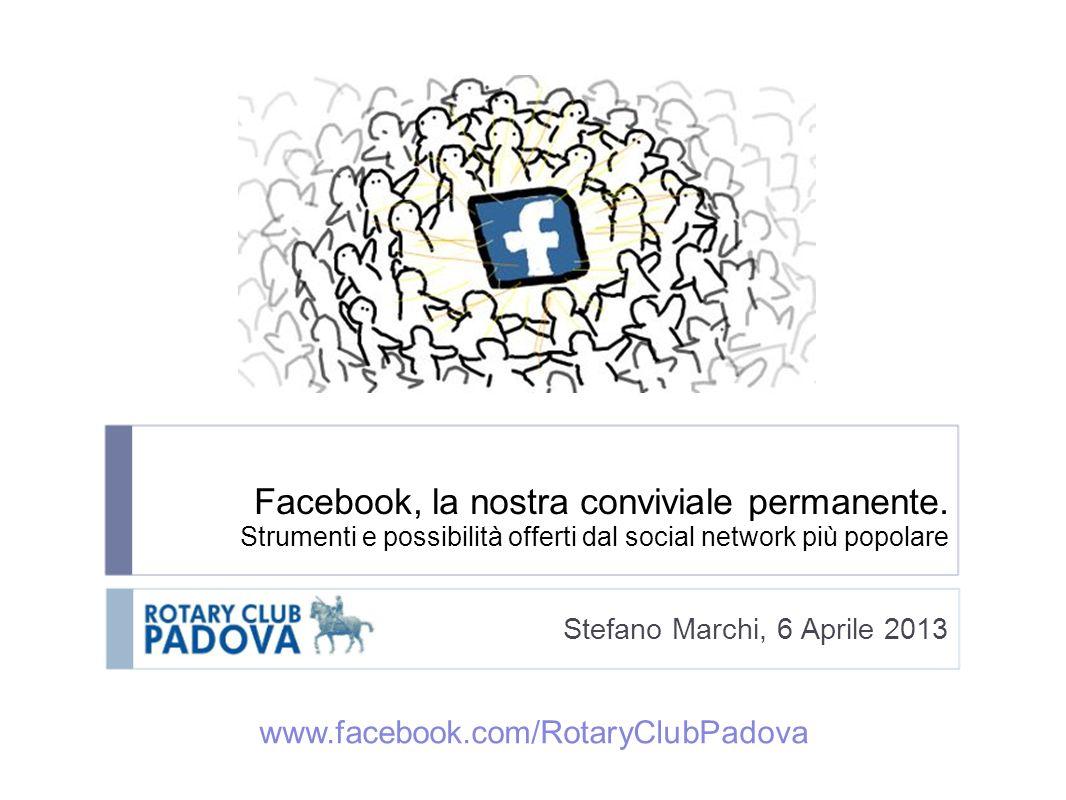 Facebook, la nostra conviviale permanente. Strumenti e possibilità offerti dal social network più popolare Stefano Marchi, 6 Aprile 2013 www.facebook.