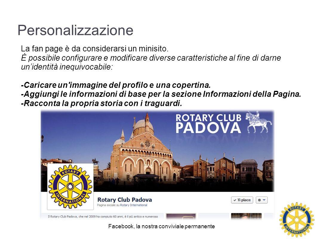 Personalizzazione La fan page è da considerarsi un minisito.