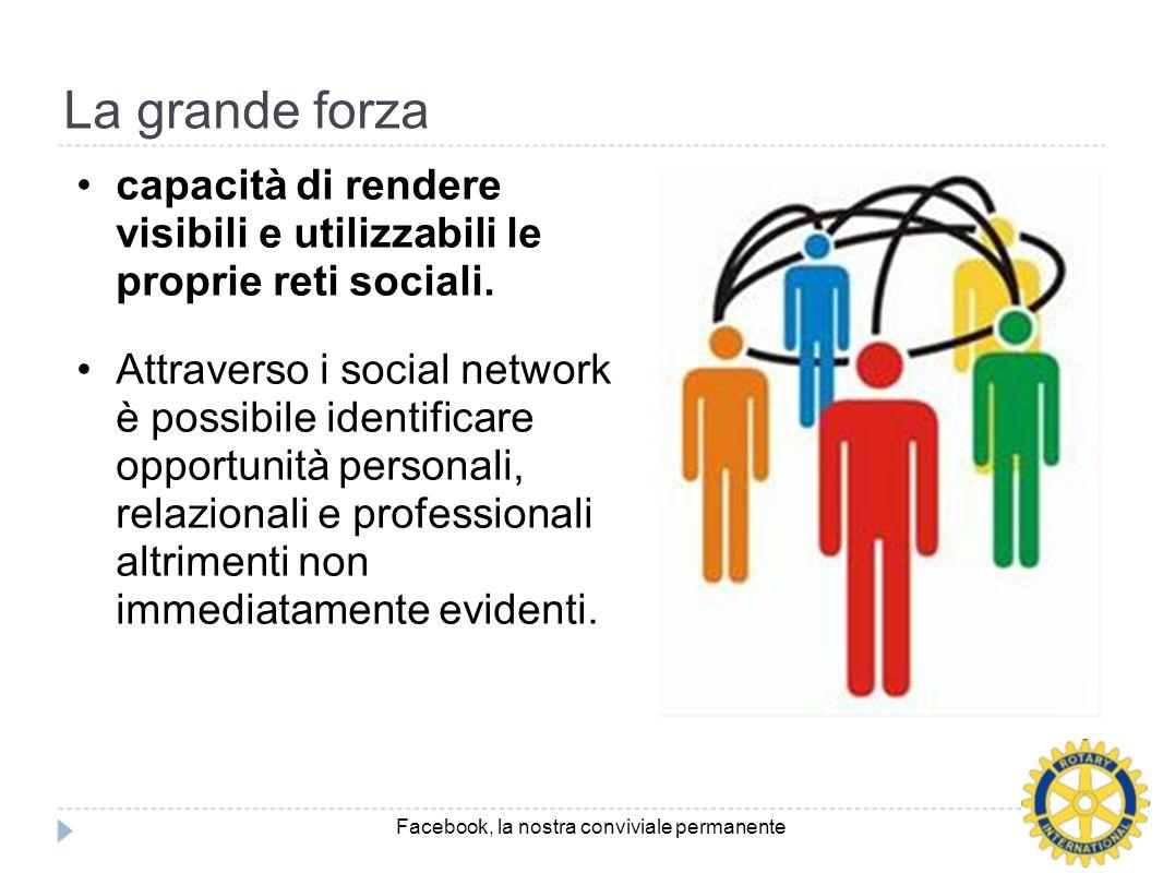 La grande forza capacità di rendere visibili e utilizzabili le proprie reti sociali. Attraverso i social network è possibile identificare opportunità