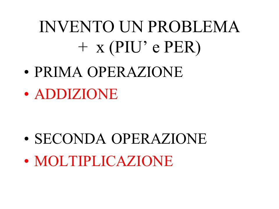 INVENTO UN PROBLEMA + x (PIU e PER) PRIMA OPERAZIONE ADDIZIONE SECONDA OPERAZIONE MOLTIPLICAZIONE