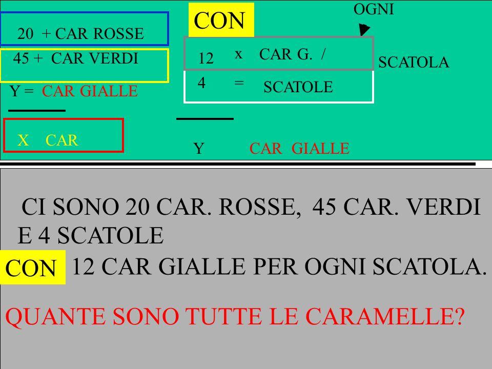 A + CAR ROSSE B + CAR VERDI Y = CAR GIALLE X CAR x = Y GIALLE CAR G. / OGNI SCATOLE C D SCATOLA