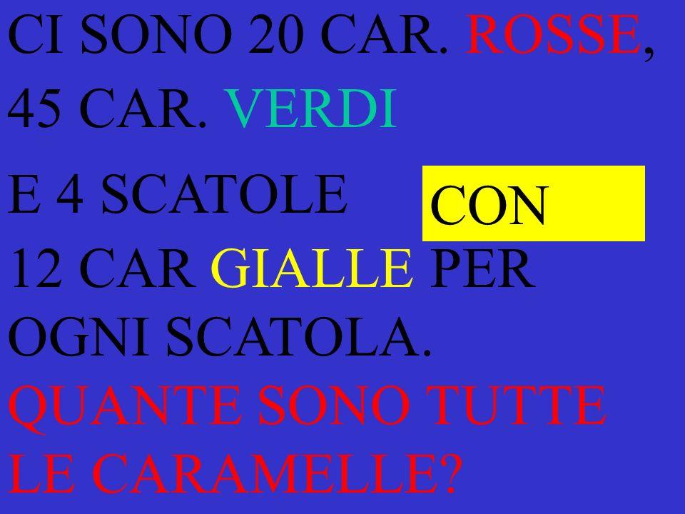 CI SONO 20 CAR.ROSSE, 45 CAR. VERDI E 4 SCATOLE 12 CAR GIALLE PER OGNI SCATOLA.