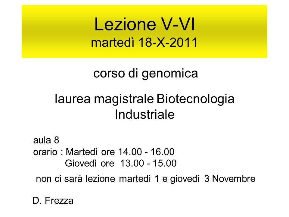 Lezione V-VI martedì 18-X-2011 corso di genomica laurea magistrale Biotecnologia Industriale aula 8 orario : Martedì ore 14.00 - 16.00 Giovedì ore 13.00 - 15.00 non ci sarà lezione martedì 1 e giovedì 3 Novembre D.
