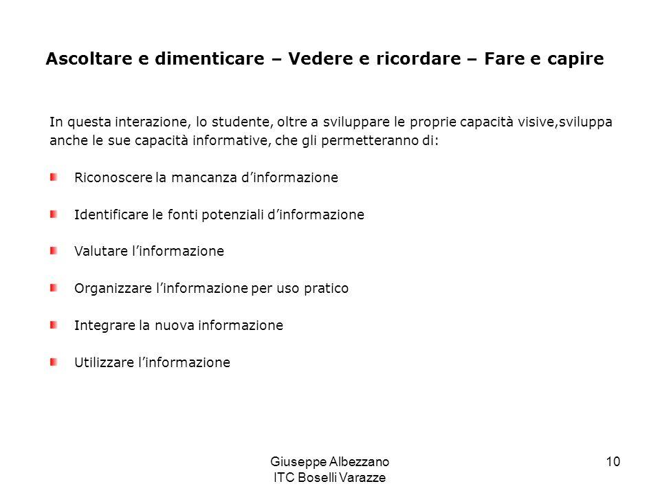 Giuseppe Albezzano ITC Boselli Varazze 10 Ascoltare e dimenticare – Vedere e ricordare – Fare e capire In questa interazione, lo studente, oltre a svi